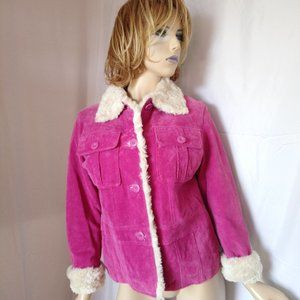 WILSONS Purple Leather With Sherpa Lining Jacket M